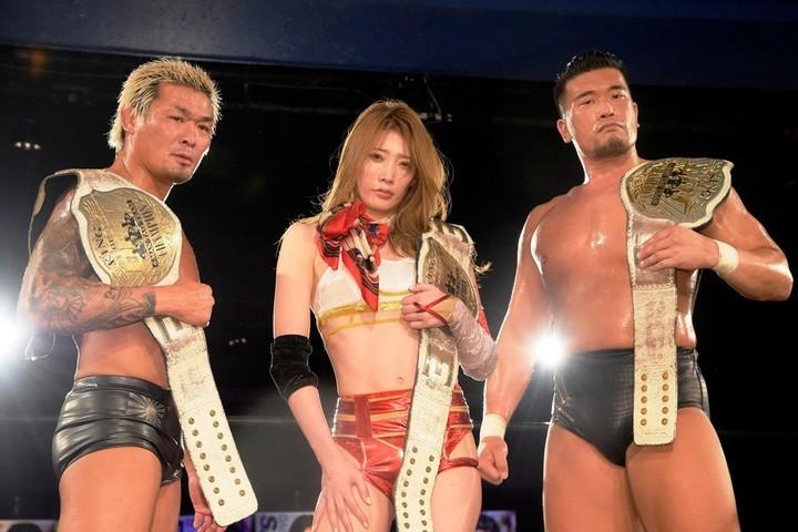 DDT 樋口和貞&坂口征夫&赤井沙希が、KO-D6人タッグ王座奪取。赤井は ...